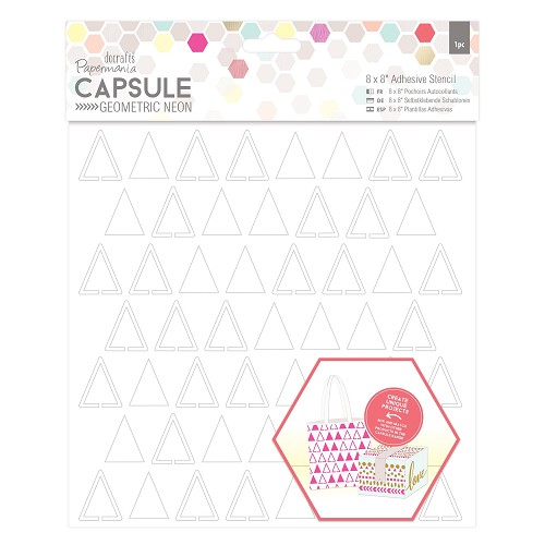 8 x 8 Adhesive Stencil (1pc) - Triangles - Capsule - Geometric Neon
