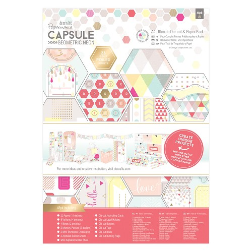 A4 Ultimate Die-cut & Paper Pack (48pk) -  Capsule - Geometric Neon
