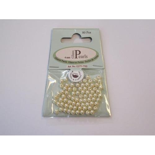 Glas parels rond 4mm beige zak 80 ST 12277-7702