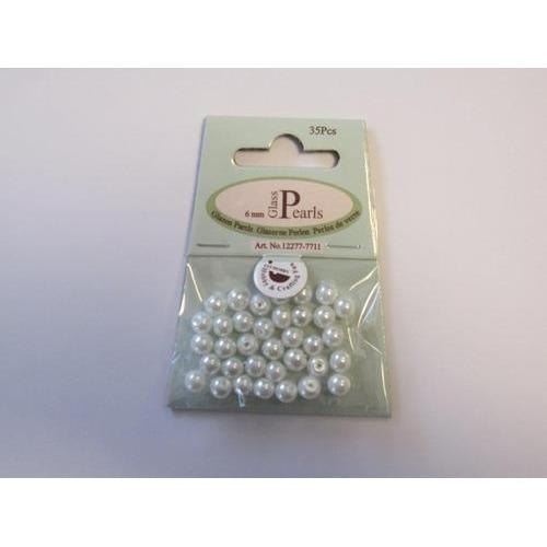 Glas parels rond 6mm wit zak 35 ST 12277-7711
