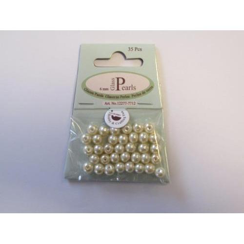 Glas parels rond 6mm beige zak 35 ST 12277-7712