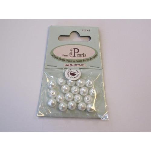 Glas parels rond 8mm wit zak 20 ST 12277-7721