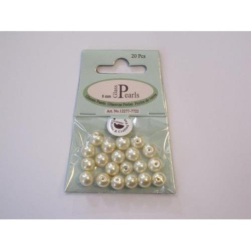 Glas parels rond 8mm beige zak 20 ST 12277-7722