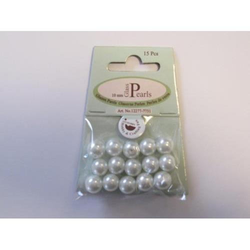 Glas parels rond 10mm wit zak 15 ST 12277-7731