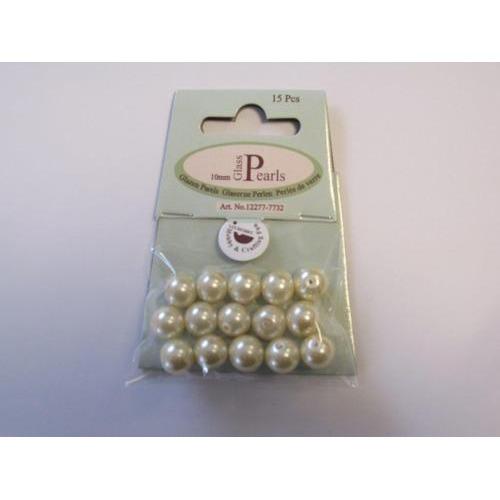 Glas parels rond 10mm beige zak 15 ST 12277-7732