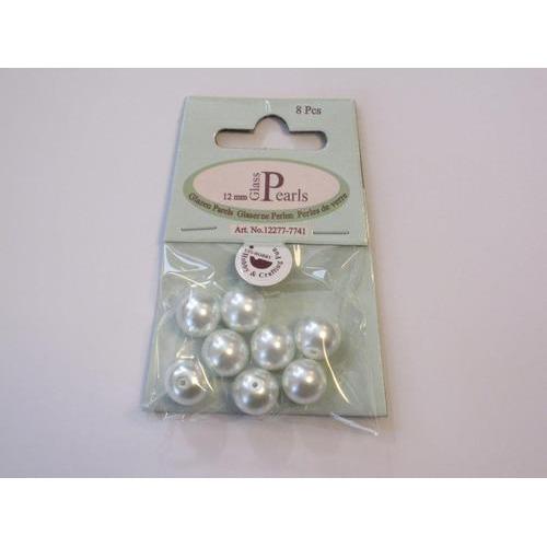 Glas parels rond 12mm wit zak 8 ST 12277-7741