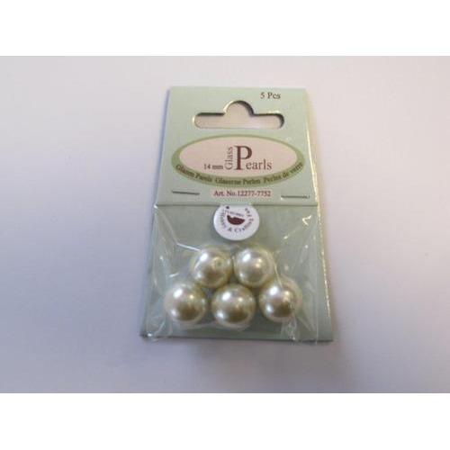 Glas parels rond 14mm beige zak 5 ST 12277-7752