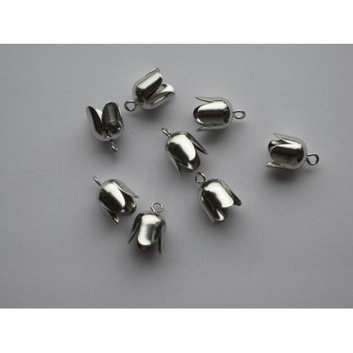 Brass Bell Cap-eindkap met oog 8mm platinum 8 ST 12296-9603