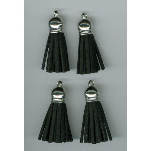 Kwastjes-tassel met cap suede zwart- zilver 3CM 4 ST 12312-1201