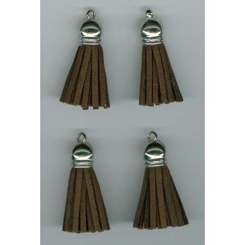 Kwastjes-tassel met cap suede bruin- zilver 3CM 4 ST 12312-1202