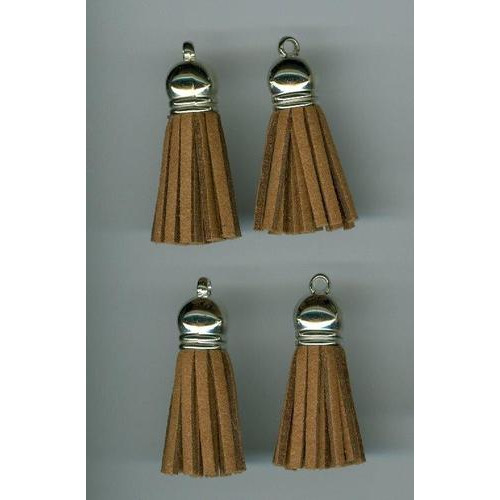 Kwastjes-tassel met cap suede licht bruin- zilver 3CM 4 ST 12312-1203