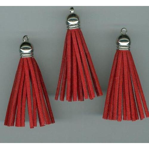 Kwastjes-tassel met cap suede red- zilver 5CM 3 ST 12312-1225