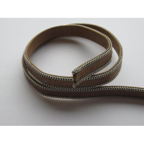 Band fluweel plat 10mmx2mm metallic bruin 50CM 12291-9103
