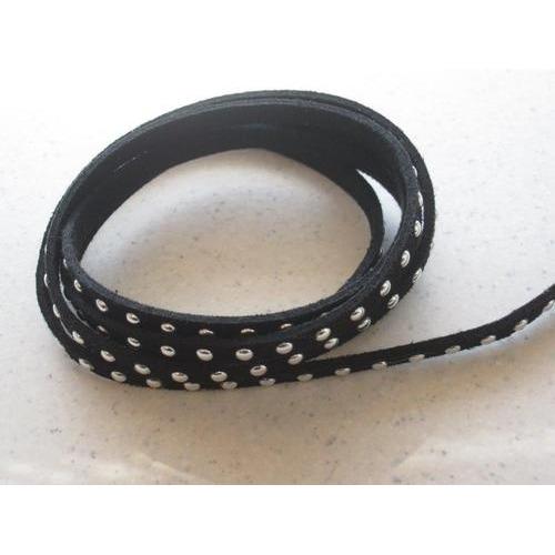 Band imitatie suède met studs 5mm zwart 1m 12318-1805