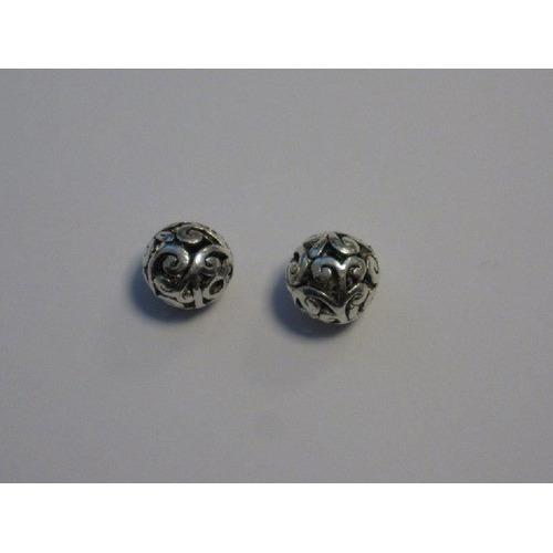Filigrain metalen kralen platinum 10,5x9mm gat 1,5Mm 2 ST 12266-6602