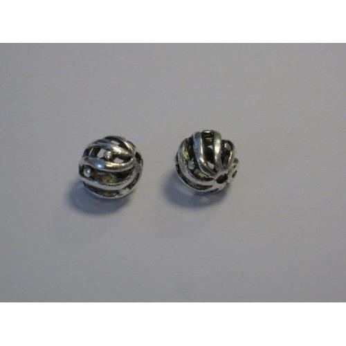 Filigrain metalen kralen platinum 10,5x9mm gat 1,5mm 2 ST 12266-6603