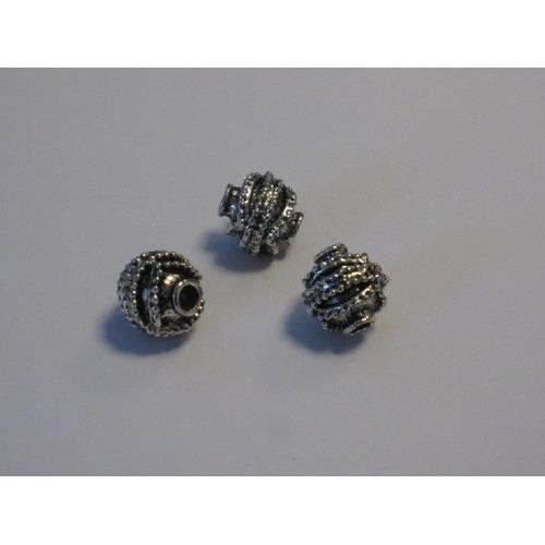 Filigrain metalen kralen platinum 9,3x9mm gat 2mm 3 ST 12266-6606