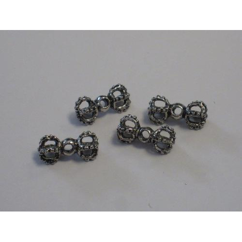 Filigrain metalen kralen platinum 15,6x5,2mm gat 1,5mm 4 ST 12266-6610