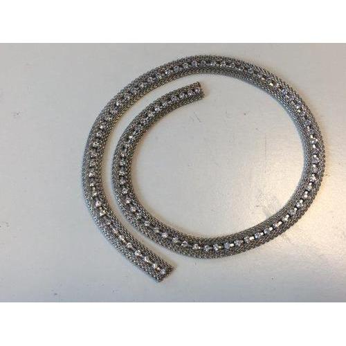Metalen band met Strass platinum 95x35mm 50CM 12341-4101