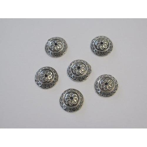 Kralenkapjes platinum 14MM 6 ST 12253-5309