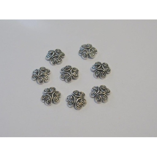 Kralenkapjes platinum 12MM 8 ST 12253-5308