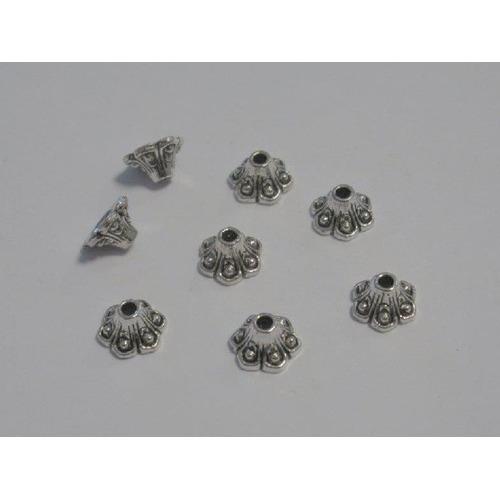 Kralenkapjes platinum 9MM 8 ST 12253-5304