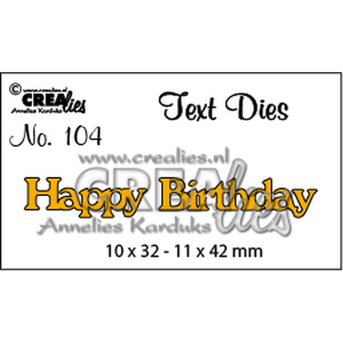Crealies tekststans (Eng) Happy Birthday 10 x 32 - 11 x 42 mm  / CLTD104