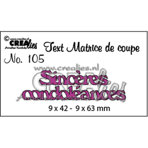 Crealies Tekststans (FR) Sinceres condoleances 9 x 42 - 9 x 63 mm  / CLTM105