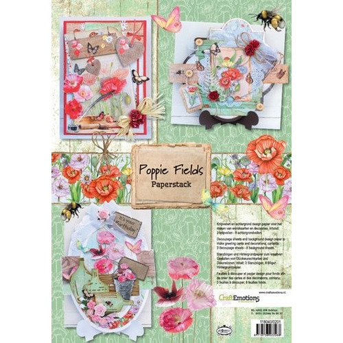 CraftEmotions Paper stack Poppie fields 11 vel A4