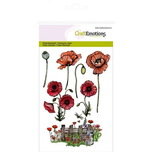 CraftEmotions clearstamps A6 - klaprozen, hek Poppy fields (new 02-16)