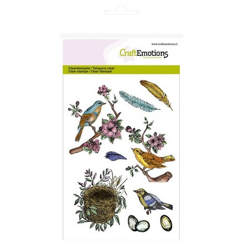 CraftEmotions clearstamps A6 - vogels, veren, eieren (new 02-16)