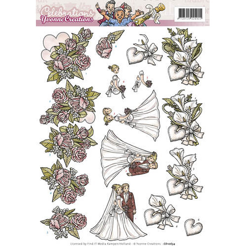 3D Knipvel - Yvonne Creations - Celebrations - Huwelijk
