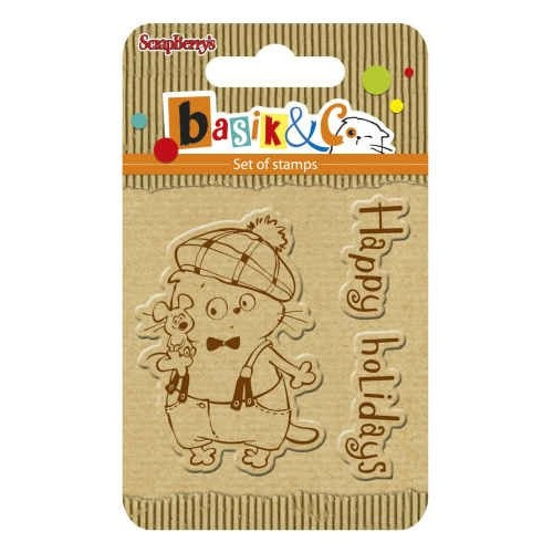 ScrapBerry`s Set Of Clear Rubber Stamps 7x7 cm Basik & Co Happy Holidays