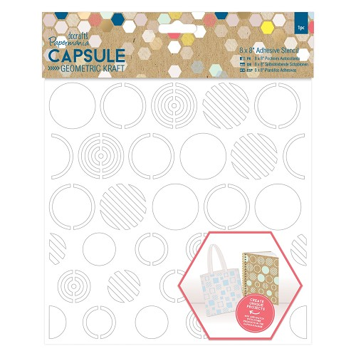 8 x 8 Adhesive Stencil (1pc) - Circles - Capsule - Geometric Kraft