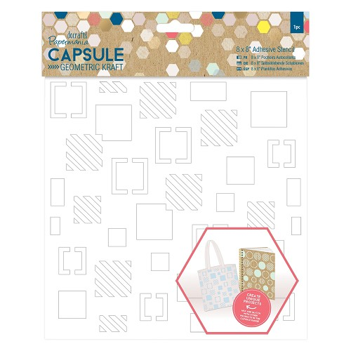 8 x 8 Adhesive Stencil (1pc) - Squares - Capsule - Geometric Kraft