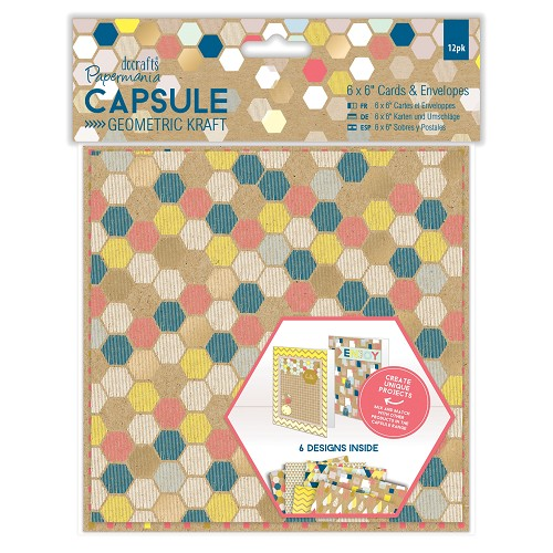 6 x 6 Cards & Envelopes (12pk) - Capsule -  Geometric Kraft