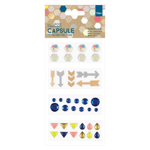 Embellishments  (39 pcs) - Capsule -  Geometric Kraft