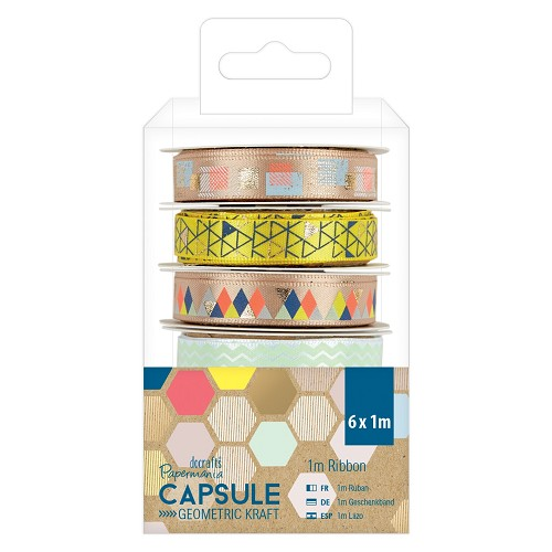 1m Ribbon (6pcs) - Capsule -  Geometric Kraft