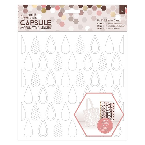8 x 8 Adhesive Stencil (1pc) - Teardrops - Capsule - Geometric Mocha