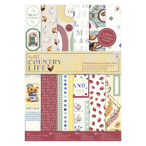 A4 Ultimate Die-cut & Paper Pack Linen (48pk) - Country Life