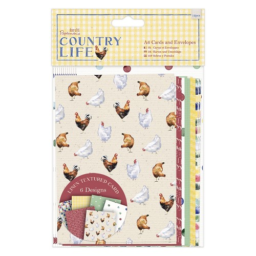 A6 Cards & Envelopes Linen (12pk) - Country Life