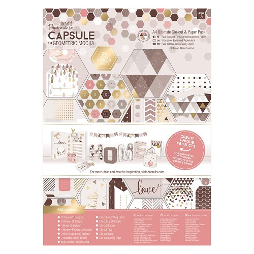 A4 Ultimate Die-cut & Paper Pack (48pk) -  Capsule - Geometric Mocha