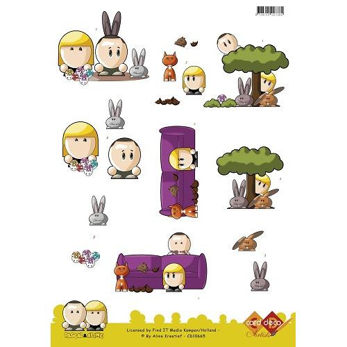 3D Knipvel - Pascal en Aline -  Easter Bunnies