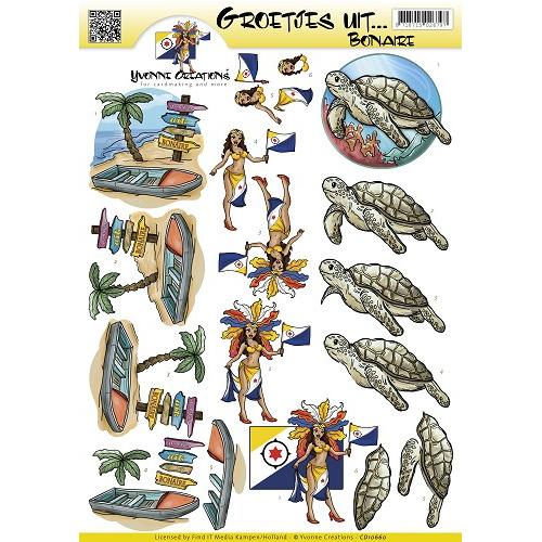 3D Knipvel - Yvonne Creations - Groetjes uit... Bonaire