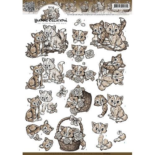 3D Knipvel - Yvonne Creations - Bruine Katjes