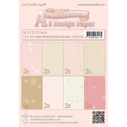Design papier assortiment  Lace pink/brown 16xA5  170 gr.