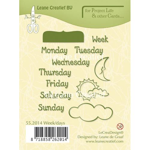 Project Life & Cards clear stamp Week/Days English text