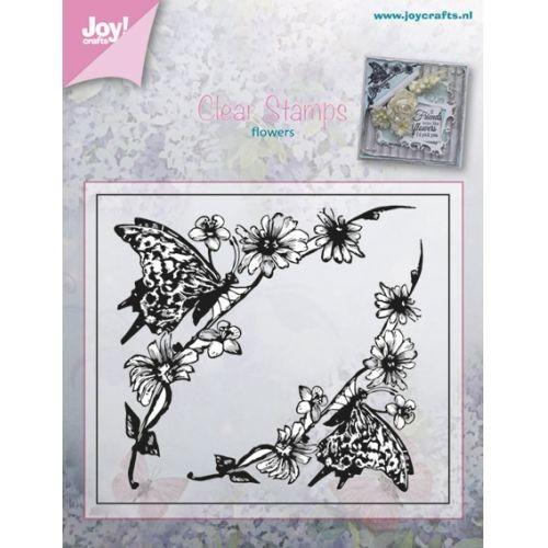 oy! crafts - Clearstamp - Flowers - Bloem met vlinder hoekje ca. 80 x 70mm