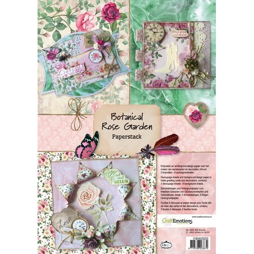 CraftEmotions Paper stack Botanical Rose Garden 11 vel A4