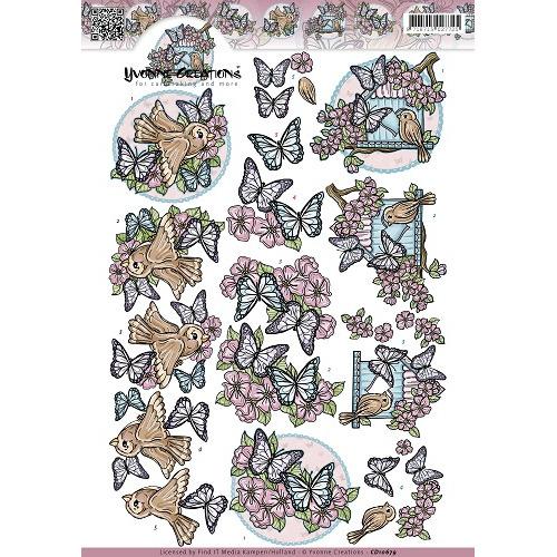 3D Knipvel - Yvonne Creations - Vlinders en vogels